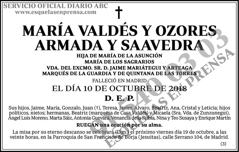 María Valdés y Ozores Armada y Saavedra